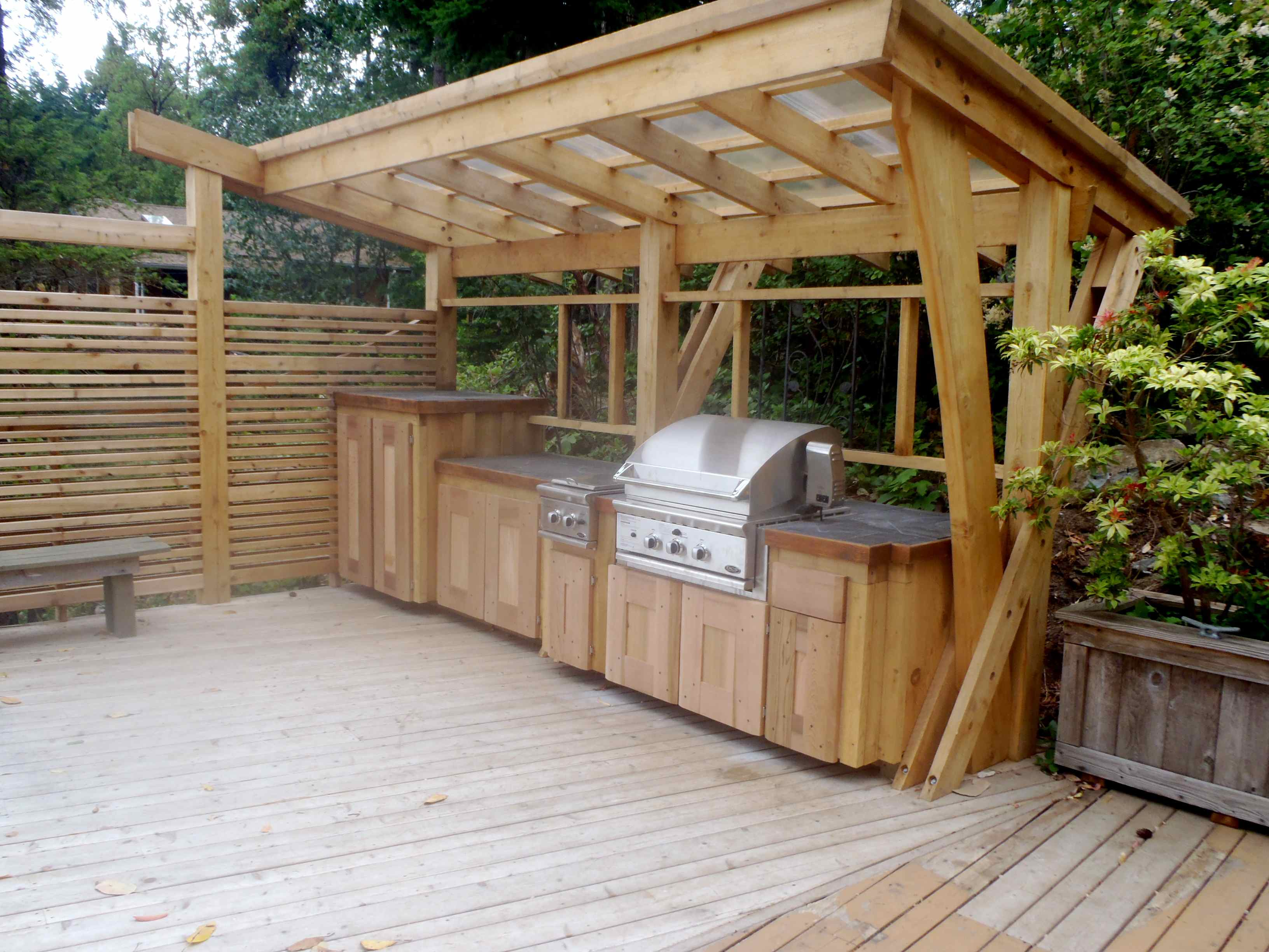 Wood BBQ Outdoor Kitchen